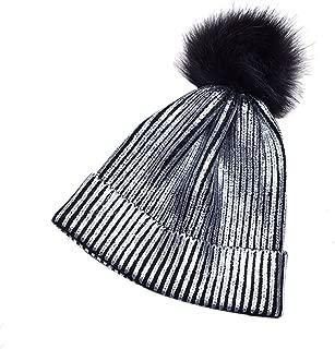 Loair Women Girls Winter Warm Hat - Metallic Shiny Knitted Crochet Beanie Hat with Pom Pom