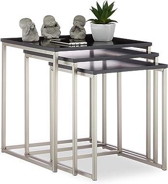 Relaxdays 10024584 Basses gigognes Lot de 3, d'appoint, Table de Chevet Acier MDF, HxLxP 42x40x40 cm, Noir/argenté