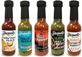 Braswell's Hot Sauce | Pack of 05 | VO Peach, VO Jalapeno, Hell's Habanero, Jalapeno Pickle &Fire Roasted | Exotic Flavors | Fresh Peppers from Around the World | Beautiful Gift Set | Keto Friendly
