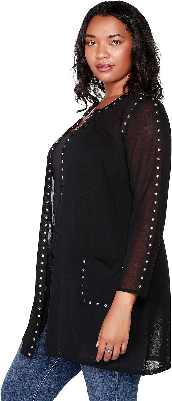 Women's Long Sleeve Sheer Cardigan with Metal Rhinestud Trim and Pockets