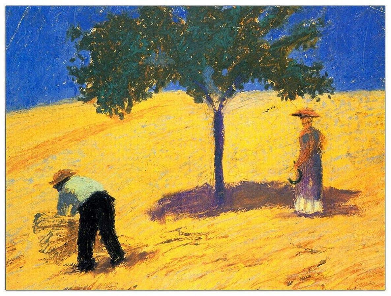 ArtPlaza TW91424 Macke August-Tree in Cornfeld Decorative Panel, 35.5x27.5 Inch, Multicolored