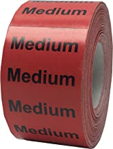 Red Medium Clothing Size Strip Stickers 1.25 x 5 Inches in Size 125 Labels on a Roll