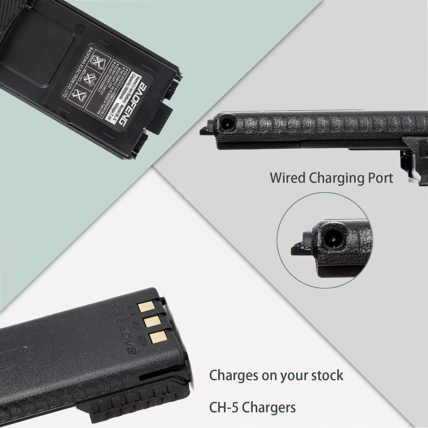 JIZHENG BL-5 Extended Replacement Battery 3800 mAh with USB Charging Cable/Cord Compatible with Baofeng UV-5R, BF-F8HP, UV-5X3 Radio Baofeng Poufeng Accessories Set/BL-5 Battery & USB Charger 1+1Pack : Electronics