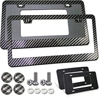 BGGTMO Carbon Fiber License Plate Frames- Black Carbon Pattern Car Tag Holder Covers 2 Pack,Front & Rear Slim Aluminum Metal Bracket with Mounting Accessories kit- Silver Screws Set, Caps, Foam Pad