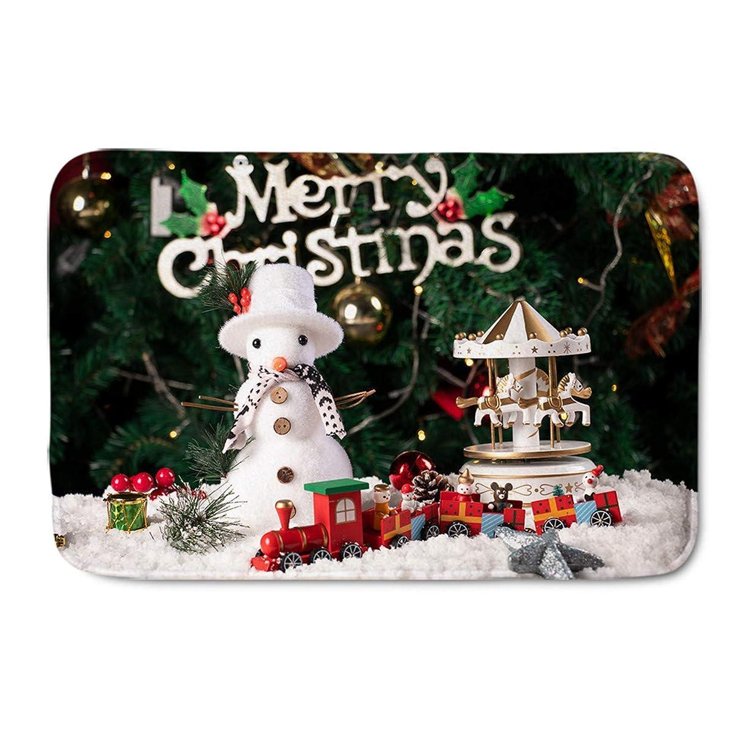 枝磨かれた悲観主義者クリスマスドアマット、新年のテーマギフトクリスマスキャラクターカルーセルと雪だるまグラフィックスタイル、滑り止めバッキング付き装飾ポリエステルフロアマット 75x45cm