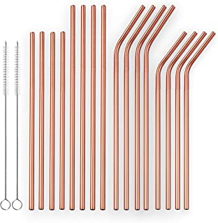 Berglander Reusable Titanium Plated Stainless Steel Rose Gold Drinking Straws Straight and Bent Metal Straws with Brushes for Milkshakes, Frozen Drinks, Smoothies, Bubble Tea, Copper Straws, Set of 18