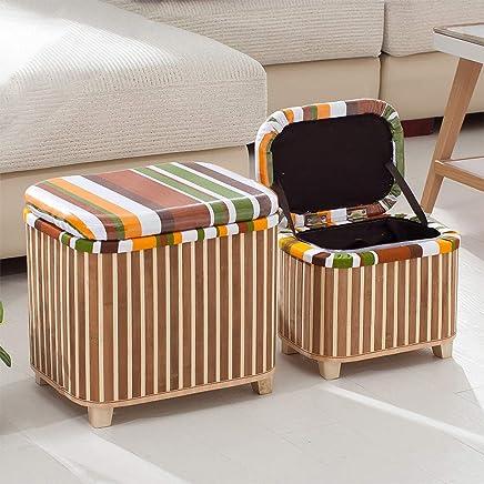 JOYBASE 2 件套储物软垫套装、脚凳、竹子和木制存储凳,适用于家庭卧室客厅