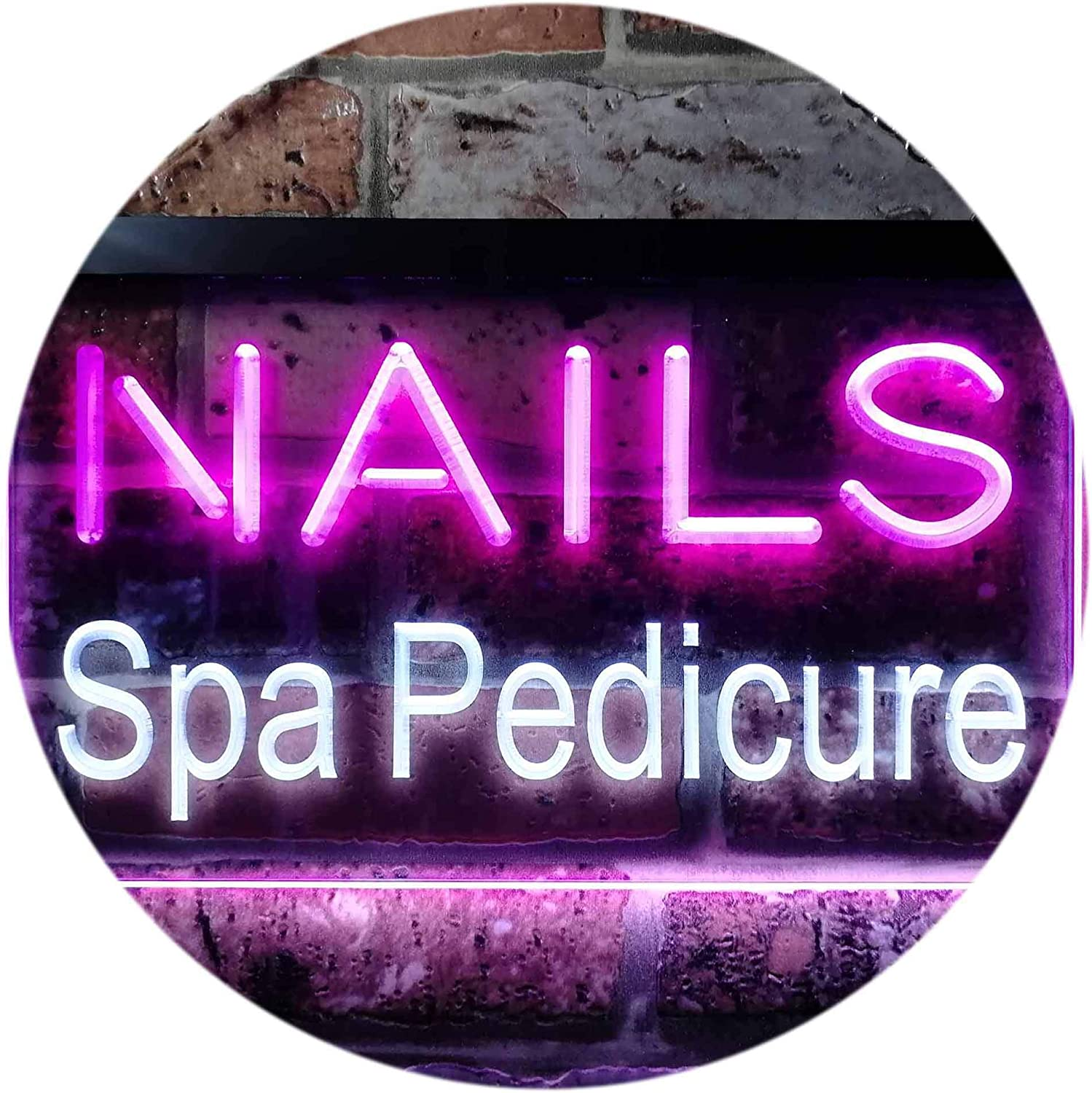 ADVPRO Nails Spa Pedicure Beauty Salon Dual Farbe LED Barlicht Neonlicht Lichtwerbung Neon Sign Weiß & lila 400mm x 300mm st6s43-i0357-wp