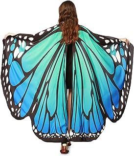 Damen Schmetterling Kostüm Faschingkostüme Schmetterling Schal Flügel Schal Tuch Schmetterlingsflügel Erwachsene Poncho Umhang für Party Halloween Weihnachten Kostüm Cosplay Karneval Fasching(168*135)
