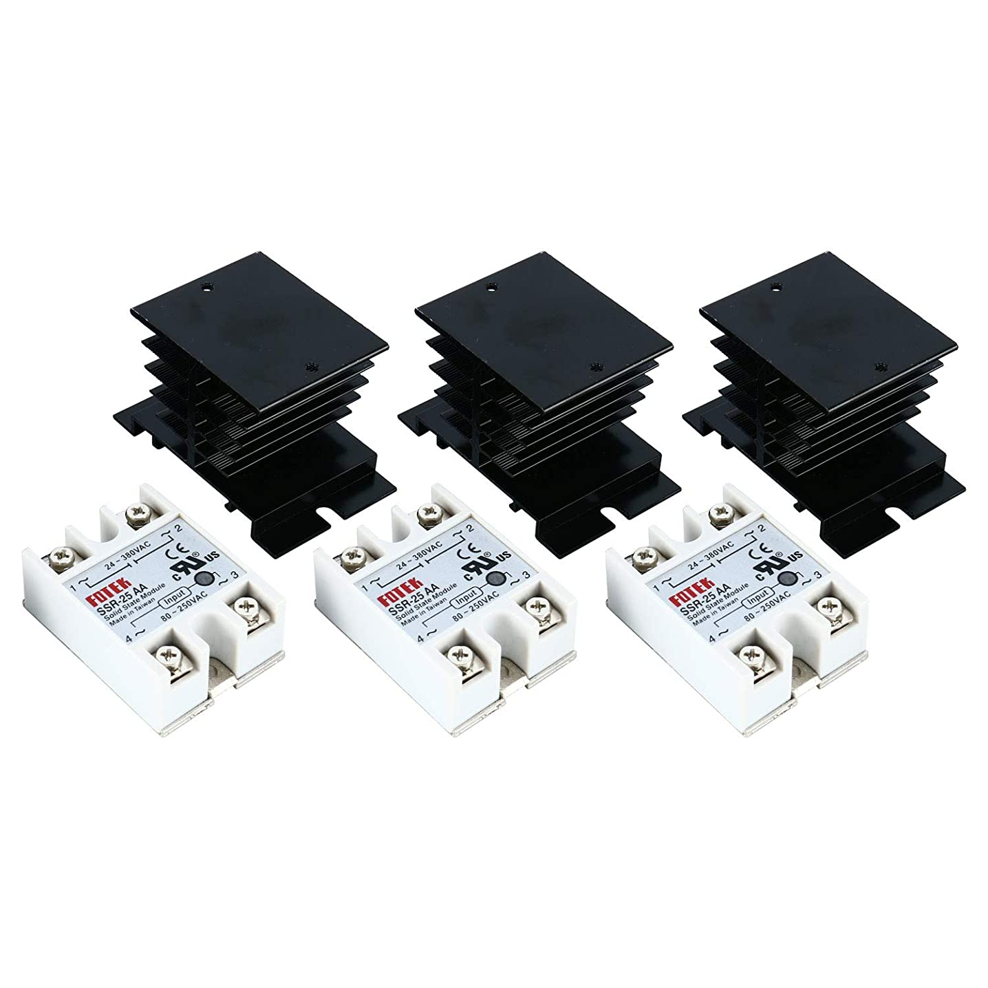 YaeCCC Solid State Controller with Heat Sink, 3PCS 25AA Solid State Controller + 3PCS Heat Sink Input 80-250VAC Output 24-380VAC fcvhzxioq