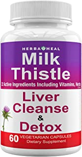 Milk Thistle Capsules Dandelion Root Formula Liver Detox Cleanse & Rescue Detoxifier & Regenerator Supplement Liver Support, 1500mg, Silymarin Beet Extract Tea Powder for Blood Sugar, Pass Drug Test