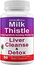 Milk Thistle Capsules Dandelion Liver Detox, Cleanse & Rescue Detoxifier & Regenerator Supplement 30-Day Formula Liver Support, 1500mg, Silymarin Beet Root Chicory Extract Tea Powder for Blood Sugar