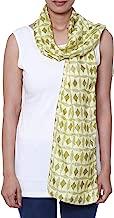 NOVICA Green and Yellow Batik 100% Silk Scarf, Batik Diamonds'