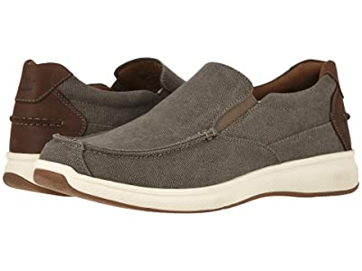Florsheim Great Lakes Canvas Moc Toe Slip-On (Gray Canvas w/ Brown Crazy Horse) Men