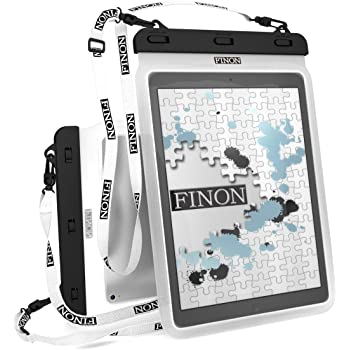 FINON【10.5-13インチ対応 WATERPOF CASE/防水ケース】 大型タブレット対応防水ケース・ネックストラップ・キックスタンド付 【Fire HD10/iPad Pro 10.5/12.9/Xperia Z/Z2/Z4 Tablet/Surface Pro/2/3/4/FJX/Surface RT/2/3/Diginnos/ideapad Miix/TransBook/MateBook 記載以外も対応】