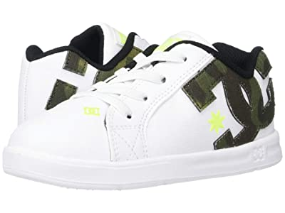 DC Kids Court Graffik Elastic SE (Toddler) (White/Print) Boys Shoes