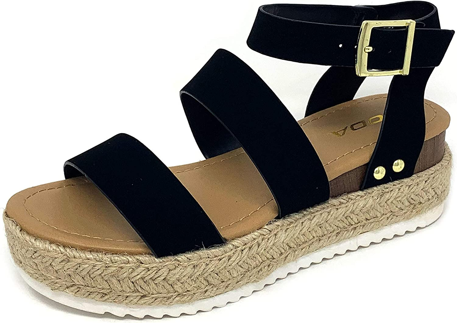 OFFicial mail order Soda Top Shoe Bryce Open Toe Buckle Ankle Strap Flat Cheap sale Espadrilles
