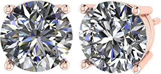 CVD Lab Created Round Diamond Studs Earrings (G-H Color VS-SI)14K Solid Gold sturdy mounting,Free Returns