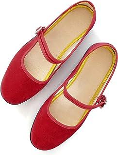 Women's Ballet Buckle Flats,Flock Round Toe Mother Flats Shoes Causal Flats