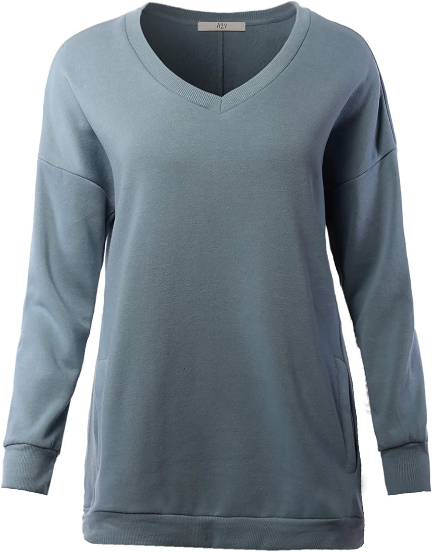 A2Y Women's Relaxed Fit Long Sleeve Crew Neck Side Pocket Sweatshirt