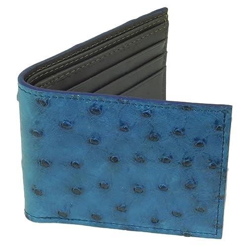44012b03353 Ostrich Wallet, Bi-Fold w ID Holder, 9 Credit Card Slots Indigo