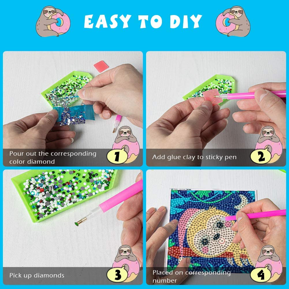 Crocodile Labeol 5D Diamond Painting Kit for Kids with Wooden Frame Easy to DIY Full Drill Painting by Number Kits Diamond Painting Art and Crafts Set Home Wall Decoration 7X7 inch