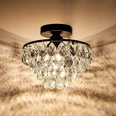 YYJLX Modern Crystal Ceiling Light Fixture Mini Black Semi Flush Mount Chandelier Light Fixture for Hallway Bedroom Bathroom Closet e26