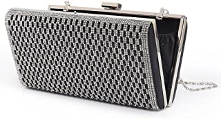 Womens Clutch Bag Rhinestone Evening Bags Metal Frame Hard Case Handbag Purses