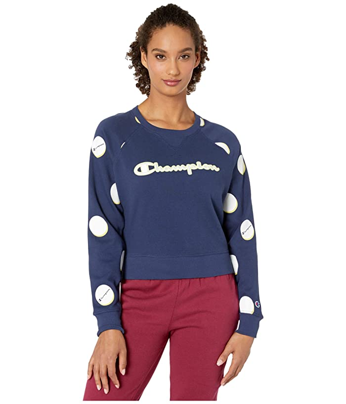 Champion  Campus French Terry Crew (Dropshadow Dot/Athletic Navy) Womens Sweatshirt