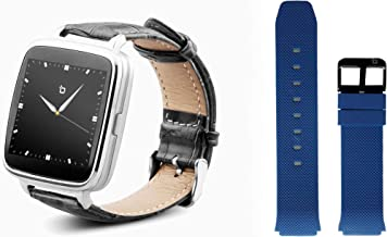 Beantech S1 Smart Watch for Apple/Android Phones. Silver with Black Croc-Embossed Leather Strap with Bonus Blue Silicone Strap