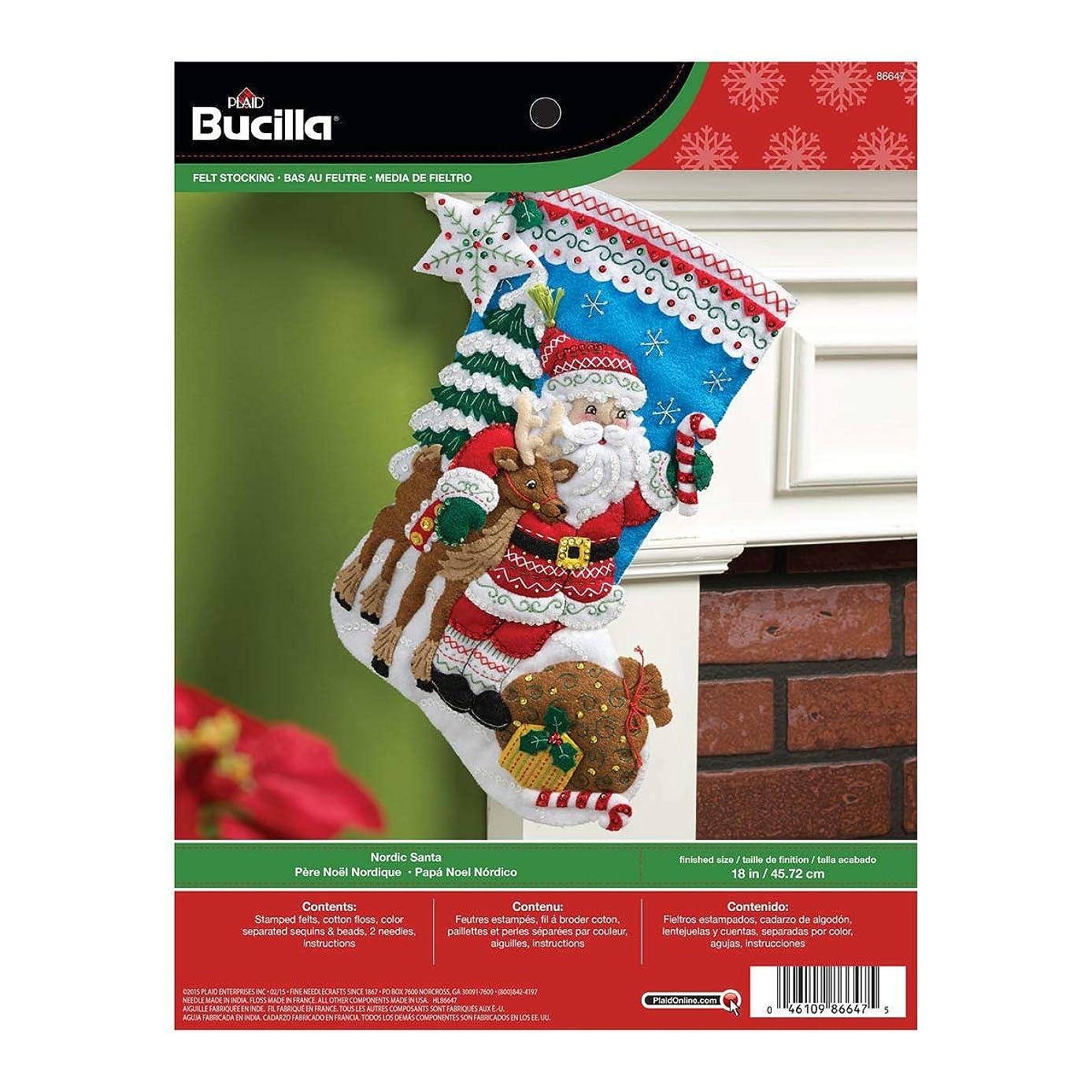 Bucilla 18-Inch Christmas Stocking Felt Applique Kit, 86647 Nordic Santa