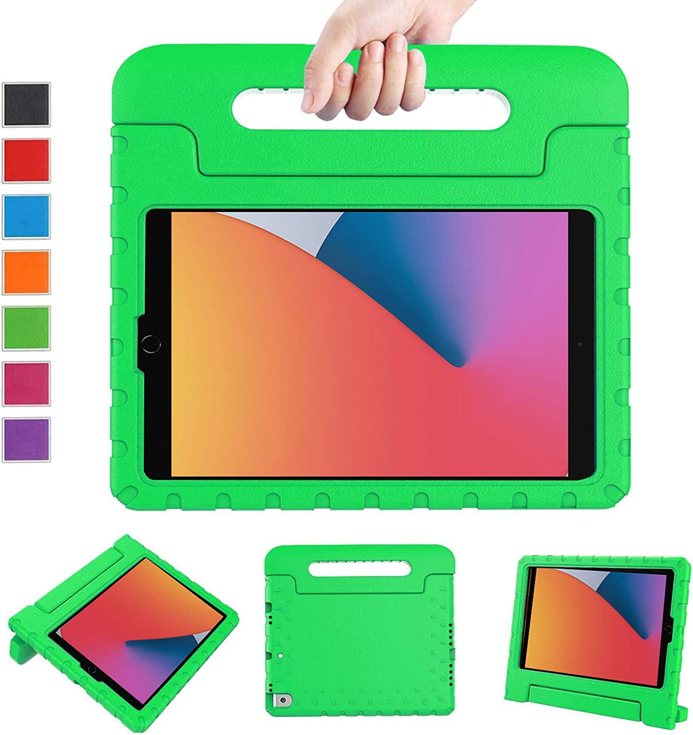 LTROP New iPad 9th/8th/7th Generation Case, iPad 10.2 Case 2021,iPad Case 10.2-inch Shockproof Light Weight Handle Stand Kids Case for Apple iPad 10.2 2021(9th Gen)/2020(8th Gen)/2019 (7th Gen),Green