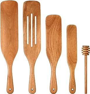 Spurtle Set As Seen on TV, 5Pcs Teak Wooden Utensils for Cooking Non-Stick Wooden Spatula Set Heat Resistant Wood Kitchen ...