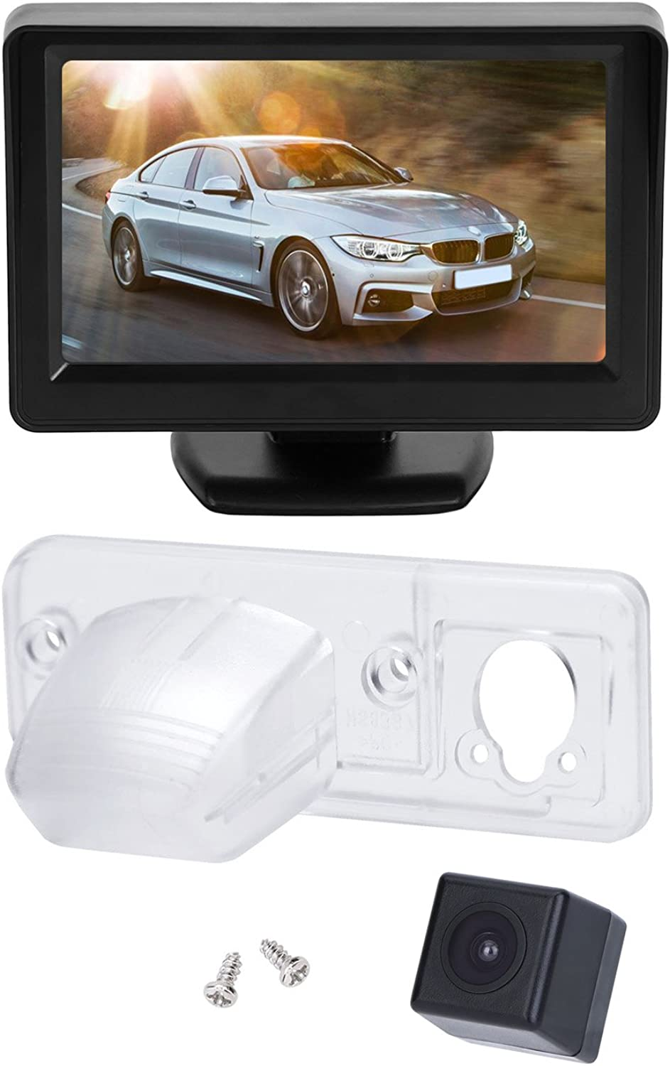 BRAUTO Reversing Camera with 4.3'' Car Monitor for VW T4 Multivan Transporter Caravelle Camper Rear View