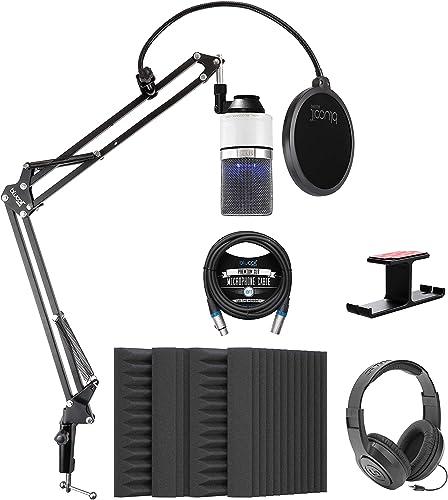 "popular MXL 990 Blizzard Condenser Microphone with outlet online sale Blue LED Lights Bundle with Blucoil 4x 12"" Acoustic Wedges, 10' XLR Cable, Boom Arm Plus Pop Filter, Samson SR350 sale Headphones, and Aluminum Headphone Hook outlet sale"