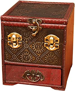 Toiletry Bags Jewelry Box Jewelry Display Box Vintage Wooden Multi-layer Jewelry Storage Display Box Large-capacity Home Accessories Necklaces Rings Earrings Jewelry Storage Box Dressing Table Decorat