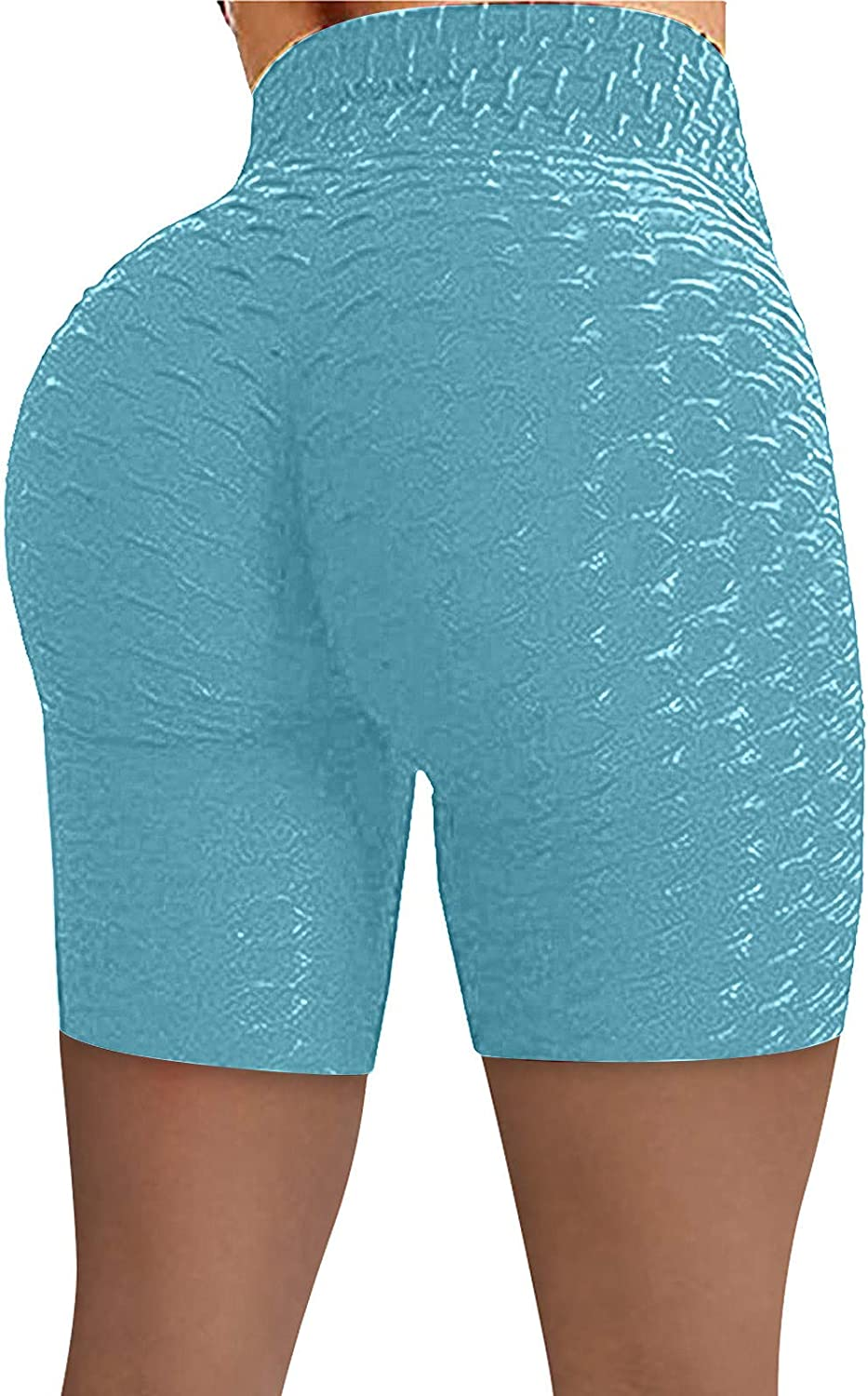 Workout Shorts for Women,Butt Lifting Yoga Shorts for Women Tummy Control Leggings Textured Ruched Running Shorts