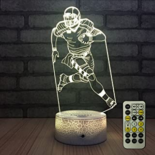 FlyonSea Football lamp,Rugby Ball Bedside Lamp 7 Colors Change + Remote Control with Timer Kids Night Light Optical Illusi...