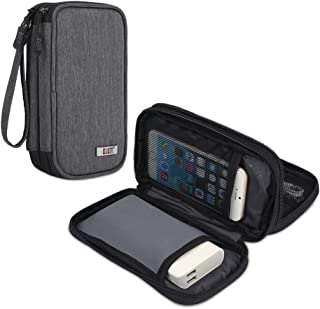 BUBM Travel Electronics Organizer, Carrying Pouch for Power Bank, Phone, Wall Charger, USB Cables and Other Phone Accessories, Denim Gray