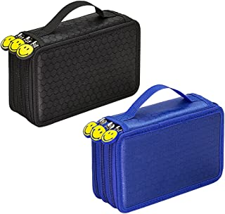 LuDa 2pcs Handy Multi Layers Pencil Pen Bag with 55 Holes Women Storage Pouch