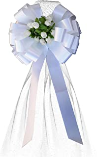 White Pull Bows with Tulle Tails and Rosebuds - 8