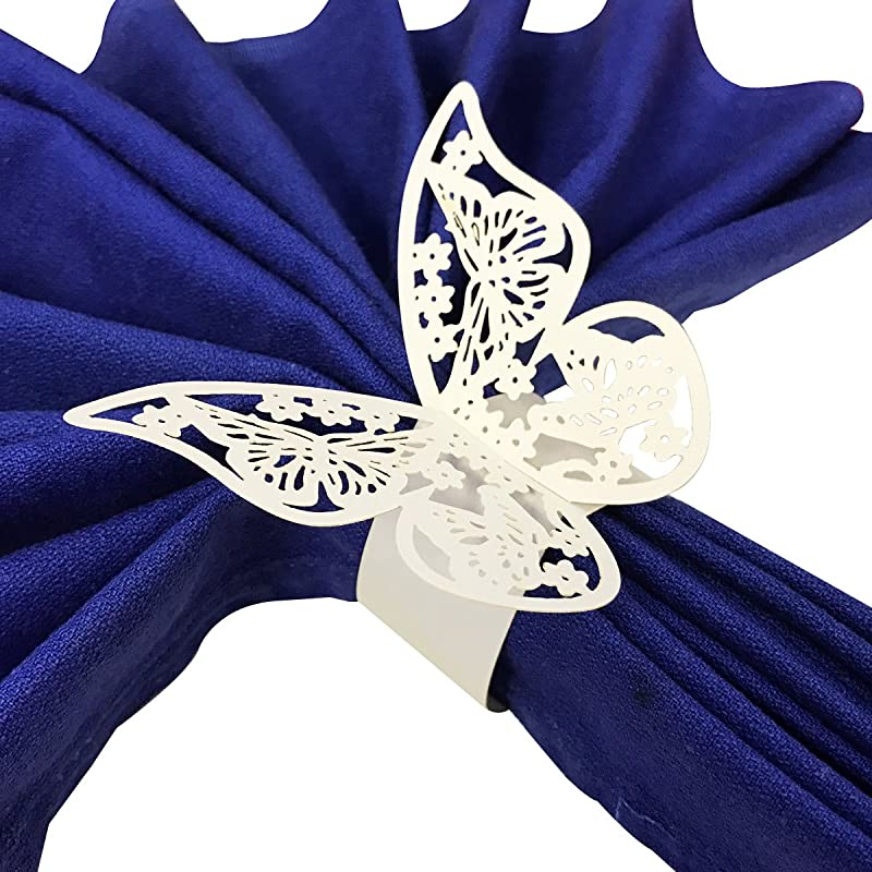 Wrapables Butterflies Wedding Decor Napkin Rings Set Of 50 White