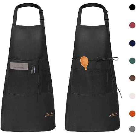 Viedouce 2 Pack Tabliers de Cuisine Etanche,Tablier Réglable avec Poches pour Cuisine Familial,Restaurant,Jardin,Barbecue,école,Café,Tablier pour Chef,Boulanger,Serveurs,Serveuse