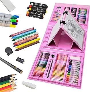 مجموعه هنری Sunnyglade 185 قطعه دو طرفه سه تایی سه تایی ، جعبه هنر نقاشی با پاستل های روغنی ، مداد رنگی ، مداد رنگی ، مارکرها ، برس رنگ ، کیک های آبرنگ ، تابلو طرح (صورتی)