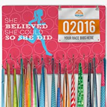 Gone For a Run Hooked On Medals and Bibs | Medal Hanger and Bib Display She Believed She Could | Pink