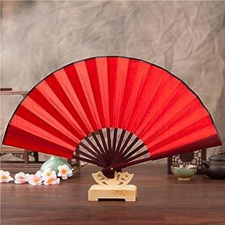 avec une poche protectrice en tissu Red Style r/étro vintage chinois//japonais /Éventail pliant pour femme Omytea Morning Glory