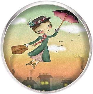 Broche de Acero, Diametro 25mm, pin 0,7mm, Hecho a Mano Ilustración Mary poppins