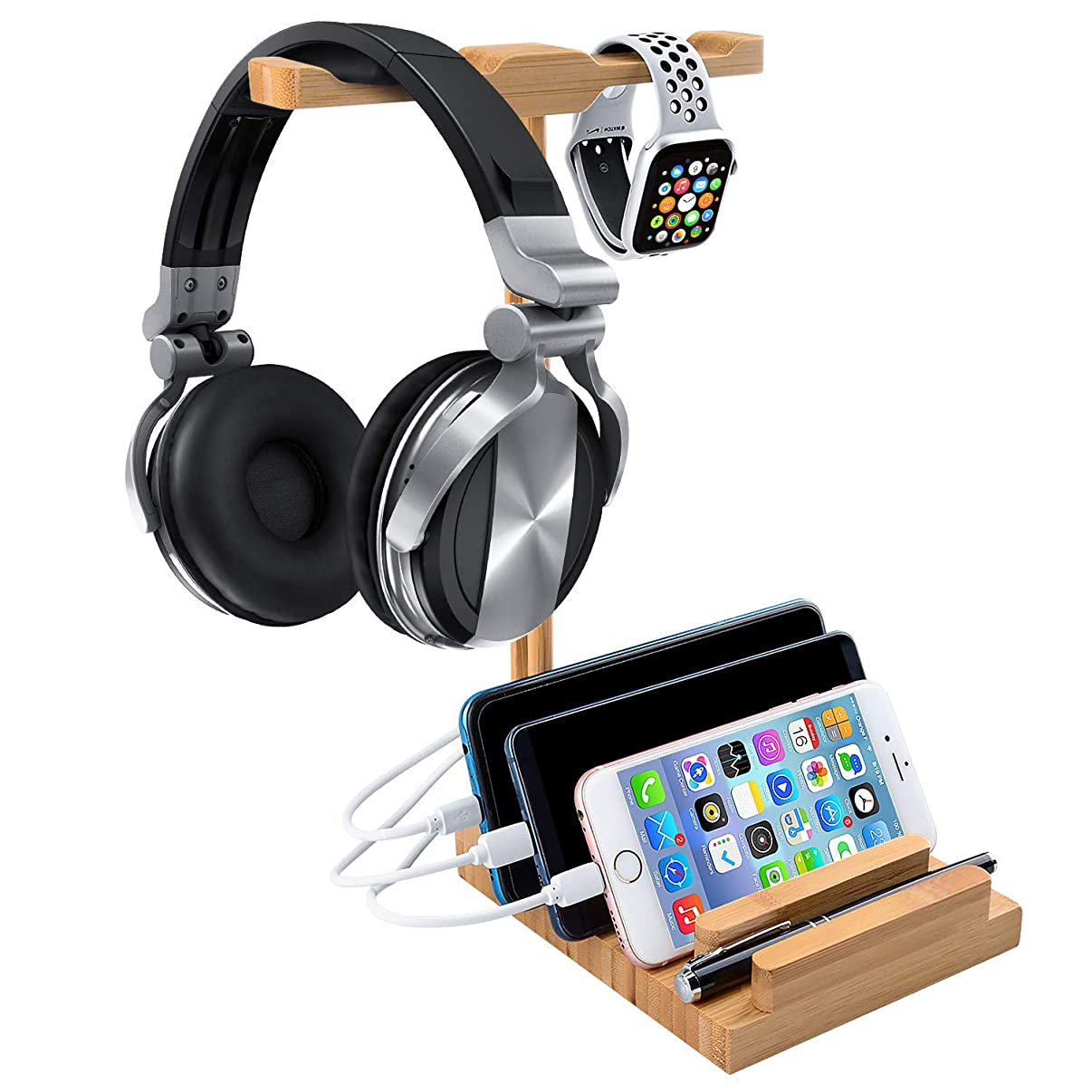 Headphone Stand with USB Charger, World Backyard Bamboo Charging Station with Dual Hanger for Desktop Gaming Headset or Apple Watch. 3 Pcs Different Version Charging Cable Included.