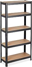 Relaxdays Étagère à charge lourde, HLP 150x75x30 cm, capacité de 875 kg, 5 niveaux, à assembler, garage, acier, noir