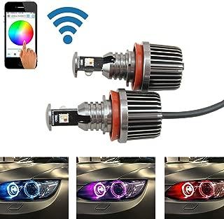 RGB H8 Led Marker Angel Eyes - Nslumo 1sets 36W canbus wifi control RGB H8 LED Angel Eyes LED marker bulb halo ring for BMW E82 E90 E92 E93 E70 E71 E60 E61 E63 E64
